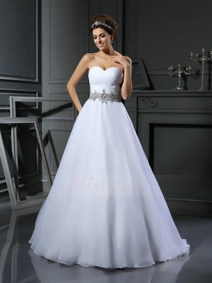Ball Gown Sweetheart Satin Court Train Beading Sleeveless Wedding Dresses