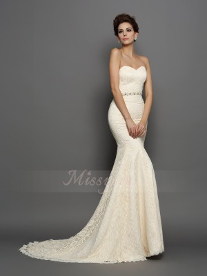 Trumpet/Mermaid Sweetheart Satin Chapel Train Bowknot Sleeveless Wedding Dresses