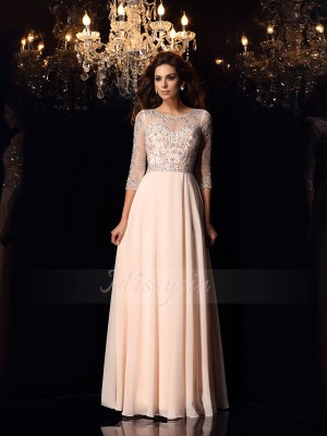 A-Line/Princess Scoop Chiffon Floor-Length Beading 3/4 Sleeves Dresses