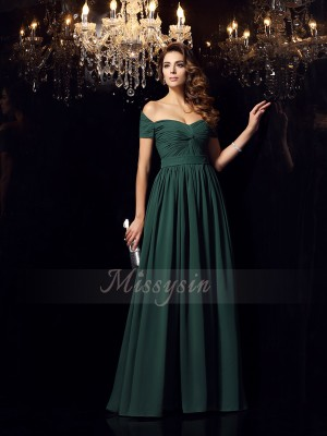 A-Line/Princess Off-the-Shoulder Chiffon Floor-Length Ruched Sleeveless Dresses