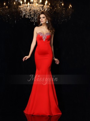 Sheath/Column Sweetheart Satin Court Train Beading Sleeveless Dresses