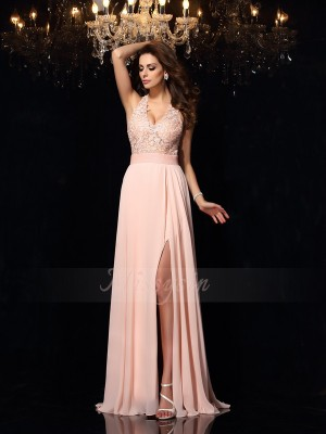 A-Line/Princess Halter Chiffon Sweep/Brush Train Lace Sleeveless Dresses