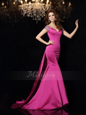 Trumpet/Mermaid Off-the-Shoulder Satin Court Train Beading Sleeveless Dresses