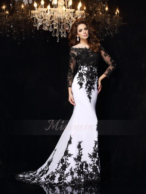 Sheath/Column Scoop Chiffon Sweep/Brush Train Lace Long Sleeves Dresses