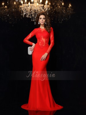 Sheath/Column Scoop Chiffon Court Train Lace Long Sleeves Dresses