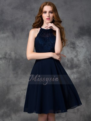 A-line/Princess Chiffon Halter Sleeveless Knee-length Bridesmaid Dresses