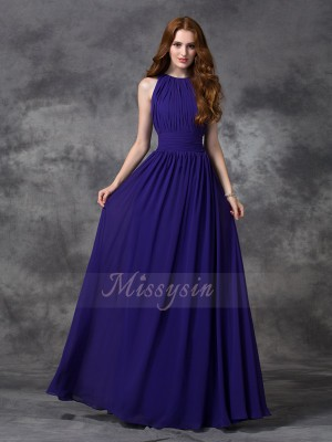 A-line/Princess Chiffon Jewel Sleeveless Ruched Floor-length Bridesmaid Dresses