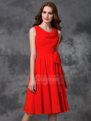 A-line/Princess Chiffon Scoop Sleeveless Ruffles Knee-length Bridesmaid Dresses