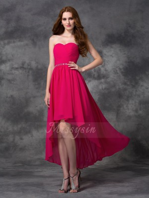 A-line/Princess Chiffon Sweetheart Sleeveless Beading Asymmetrical Bridesmaid Dresses