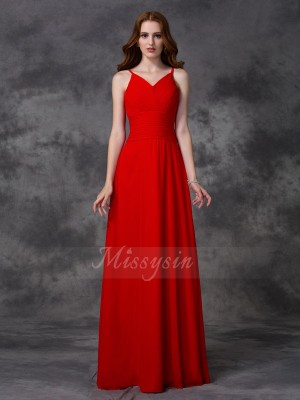 A-line/Princess Chiffon Spaghetti Straps Sleeveless Ruffles Floor-length Bridesmaid Dresses