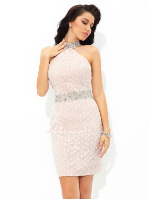 Sheath/Column Satin Halter Sleeveless Beading Short/Mini Cocktail Dresses