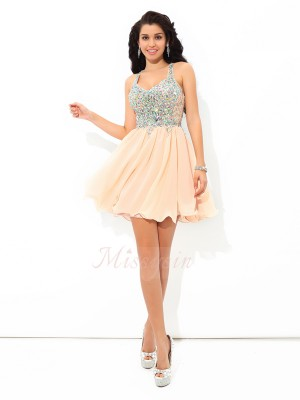 A-Line/Princess Chiffon Straps Sleeveless Rhinestone Short/Mini Cocktail Dresses