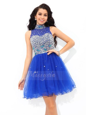 A-Line/Princess Net High Neck Sleeveless Beading Short/Mini Cocktail Dresses
