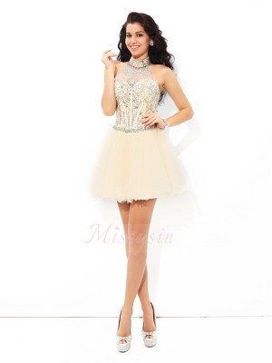 A-Line/Princess Satin Halter Sleeveless Beading Short/Mini Cocktail Dresses