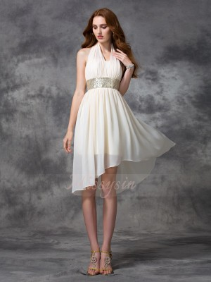 A-line/Princess Chiffon Halter Sleeveless Sequin Asymmetrical Cocktail Dresses