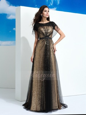 A-Line/Princess Net Sheer Neck Short Sleeves Paillette Floor-Length Dresses