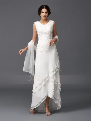 A-Line/Princess Chiffon Scoop Sleeveless Asymmetrical Mother of the Bride Dresses