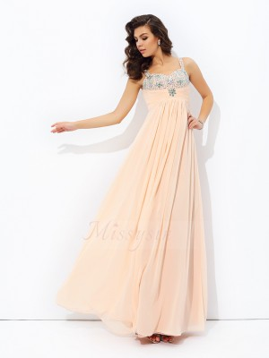 A-line/Princess Chiffon Spaghetti Straps Sleeveless Beading Floor-Length Dresses