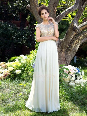A-Line/Princess Chiffon Sheer Neck Short Sleeves Rhinestone Sweep/Brush Train Dresses