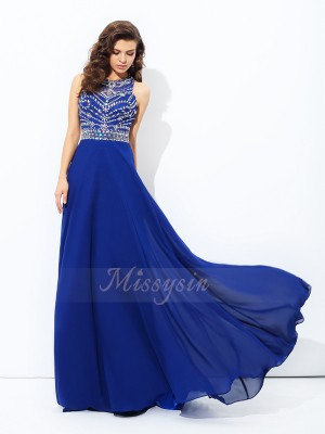 A-line/Princess Chiffon Scoop Sleeveless Beading Floor-length Dresses