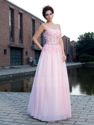 A-Line/Princess Net Straps Sleeveless Applique Floor-Length Dresses