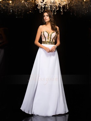 A-Line/Princess Chiffon Sweetheart Sleeveless Sequin Floor-Length Dresses