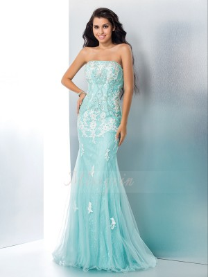 Trumpet/Mermaid Lace Strapless Sleeveless Applique Floor-Length Dresses