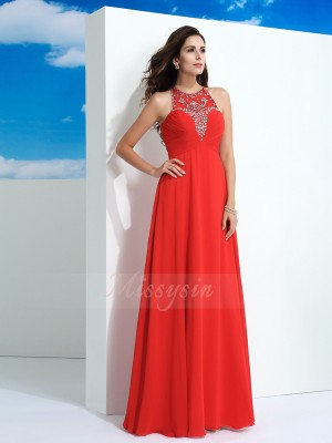 A-Line/Princess Chiffon Sheer Neck Sleeveless Beading Floor-Length Dresses