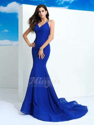 Sheath/Column Chiffon Straps Sleeveless Beading Court Train Dresses