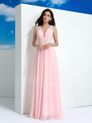 A-Line/Princess Chiffon Straps Sleeveless Beading Floor-Length Dresses