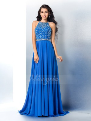 A-Line/Princess Chiffon Scoop Sleeveless Beading Sweep/Brush Train Dresses