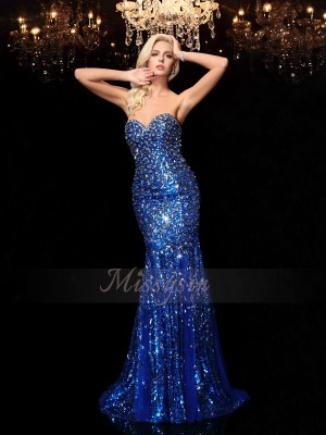 Trumpet/Mermaid Sequins Sweetheart Sleeveless Sequin Sweep/Brush Train Dresses