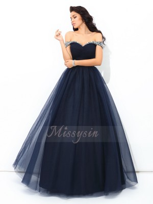 Ball Gown Net Off-the-Shoulder Sleeveless Beading Floor-Length Quinceanera Dresses