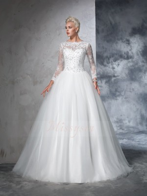 Ball Gown Net Bateau Long Sleeves Sweep/Brush Train Wedding Dresses