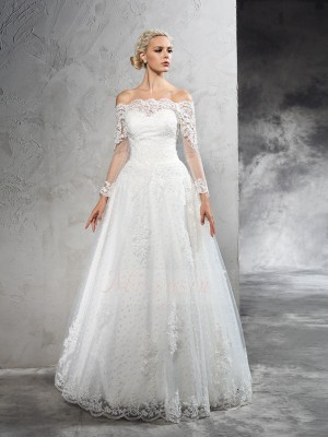 Ball Gown Net Off-the-Shoulder Long Sleeves Floor-Length Wedding Dresses