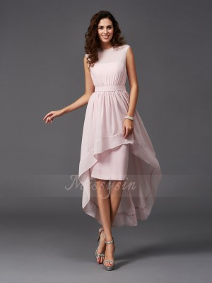 A-Line/Princess Chiffon Scoop Sleeveless Sash/Ribbon/Belt Asymmetrical Bridesmaid Dresses