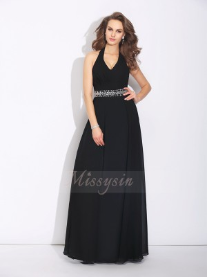 A-Line/Princess Chiffon Halter Sleeveless Beading Floor-Length Bridesmaid Dresses