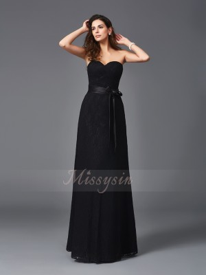 A-Line/Princess Lace Sweetheart Sleeveless Sash/Ribbon/Belt Floor-Length Bridesmaid Dresses