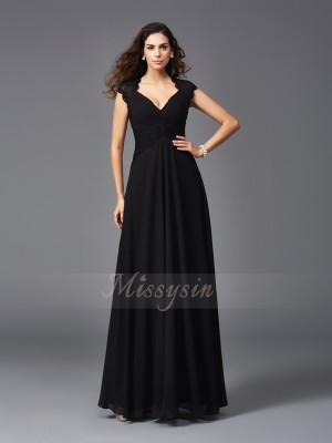 A-Line/Princess Chiffon V-neck Sleeveless Floor-Length Bridesmaid Dresses