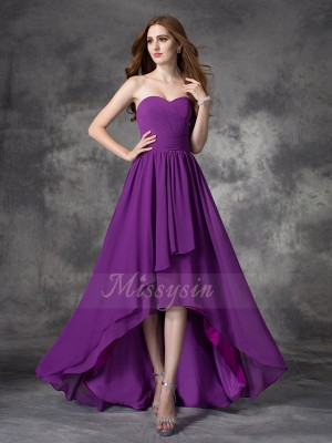 A-line/Princess Chiffon Sweetheart Sleeveless Ruffles Asymmetrical Bridesmaid Dresses