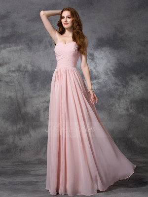 A-line/Princess Chiffon Sweetheart Sleeveless Ruched Floor-length Bridesmaid Dresses