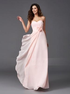 A-Line/Princess Chiffon Sweetheart Sleeveless Hand-Made Flower Floor-Length Bridesmaid Dresses