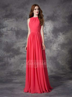A-line/Princess Chiffon Jewel Sleeveless Ruffles Floor-length Bridesmaid Dresses