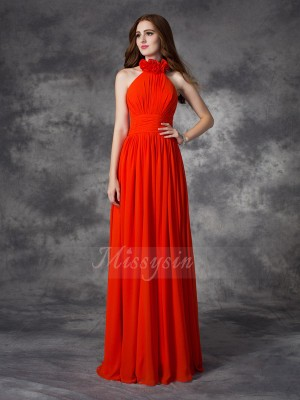 A-line/Princess Chiffon Halter Sleeveless Hand-Made Flower Floor-length Bridesmaid Dresses