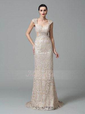 Sheath/Column Lace Straps Sleeveless Sweep/Brush Train Dresses