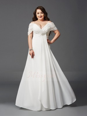A-Line/Princess Chiffon Off-the-Shoulder Short Sleeves Ruched Floor-Length Dresses