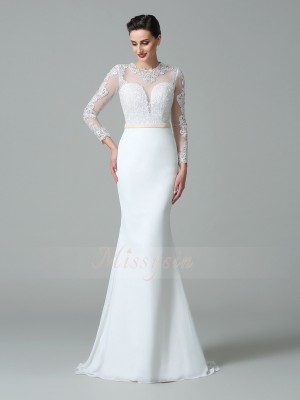 Trumpet/Mermaid Satin Jewel Long Sleeves Sweep/Brush Train Wedding Dresses
