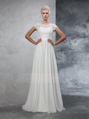A-Line/Princess Chiffon Sheer Neck Short Sleeves Applique Sweep/Brush Train Wedding Dresses