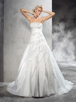 Ball Gown Satin Strapless Sleeveless Beading Court Train Wedding Dresses