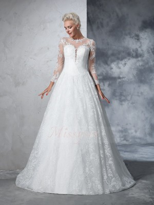Ball Gown Lace Jewel Long Sleeves Court Train Wedding Dresses